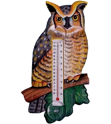 Great Horned Owl Window Thermometer Large