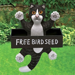 Dangling Black & White Cat Square Metal Tray Bird Feeder
