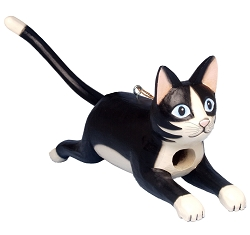 Leaping Black & White Cat Birdhouse