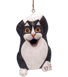 Chillin' Black & White Cat Birdhouse