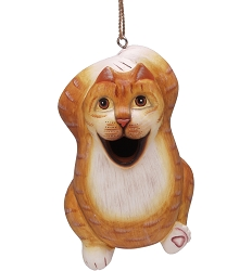 Chillin' Orange Tabby Cat Birdhouse