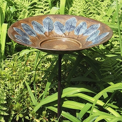 Achla Green Leaves Embossed Birdbath with Stake