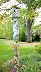 Birdhouse Art Pole 6' Nest Blessings