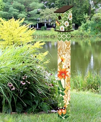 Birdhouse Art Pole 5' Fancy Garden