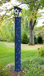 Birdhouse Art Pole 6' Daisy Blues