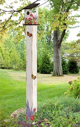 Birdhouse Art Pole 6' Summer Garden