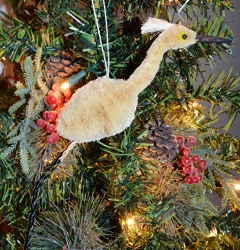 Brushart Bird Ornament Egret