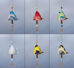 Bird Song Ceramic Bell Collection Set of 6