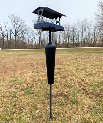 Recycled Plastic Fly-Through Feeder Large Blue/Gray with Squirrel Stopper Pole Kit
