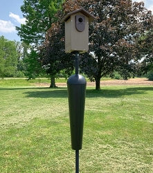 Recycled Poly Ultimate Bluebird House Brown with Squirrel Stopper Pole Kit