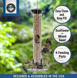 Droll Yankees Onyx Clever Clean Sunflower/Mixed Seed Feeder 18