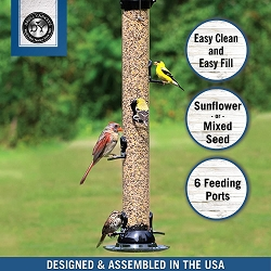 Droll Yankees Onyx Clever Clean Sunflower/Mixed Seed Feeder 24