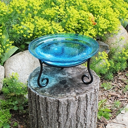 Crackle Glass Birdbath 12