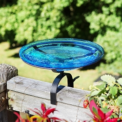 Crackle Glass Birdbath 14