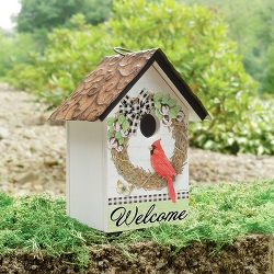 Cardinal On Vine Wreath Birdhouse