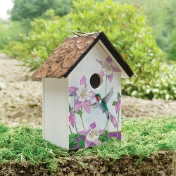 Silent Moment Hummingbird and Flowers Birdhouse