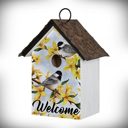 Spring Forsythia Chickadee and Flowers Birdhouse