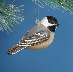 Cobane Studio Chickadee with Turned Head Blown Glass Ornament