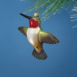 Cobane Studio Male Ruby Throated Hummingbird Blown Glass Ornament