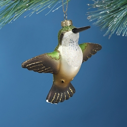 Cobane Studio Female Ruby Throated Hummingbird Blown Glass Ornament