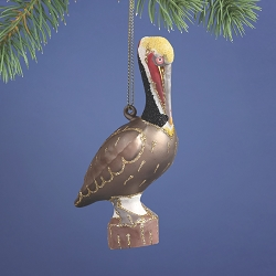 Cobane Studio Brown Pelican Blown Glass Ornament