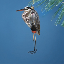 Cobane Studio Great Blue Heron Blown Glass Ornament