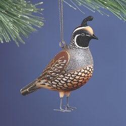 Cobane Studio California Quail Blown Glass Ornament