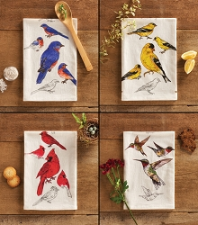 Field Guide Flour Sack Towel Backyard Bird Collection Set of 4