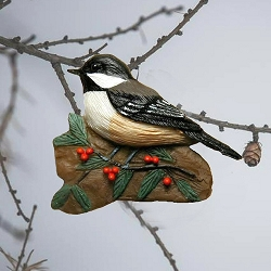 Chickadee with Holly Ornament