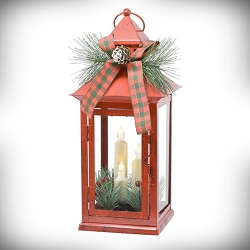 Red Taper LED Lantern with Holiday Trim