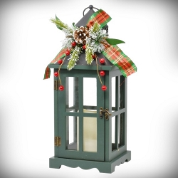 Grey Pinecones & Berries LED Lantern