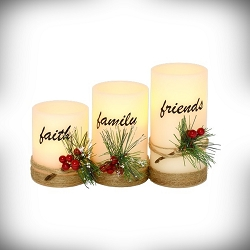 Faith, Family, Friends LED 3-Piece Flameless Candle Set