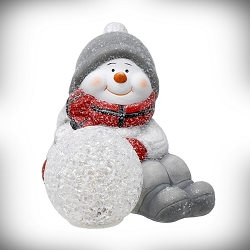 Sitting Snowman with LED Snowball Set of 2