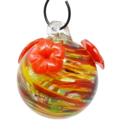 Glass Globe Hummingbird Feeder Rainbow Swirl