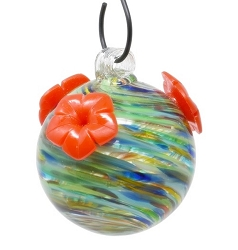 Glass Globe Hummingbird Feeder Ocean Swirls