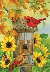 Briarwood Lane Cardinals and Sunflowers Garden Flag