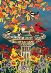 Briarwood Lane Fall Birdbath House Flag