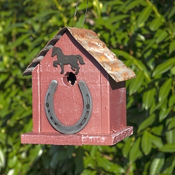 Huntington Horseshoe Birdhouse Red