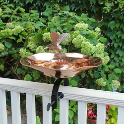 Achla Copper Hummingbird Birdbath with Over Rail Bracket