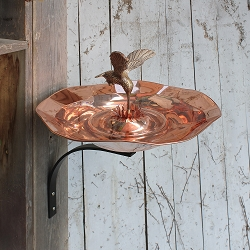 Achla Copper Hummingbird Birdbath with Wall Bracket