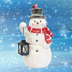 Sparkles Snowman Door Greeter w/LED Lantern