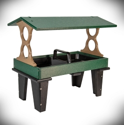 Recycled Poly Ground Fly-Through Feeder Large Green/Tan