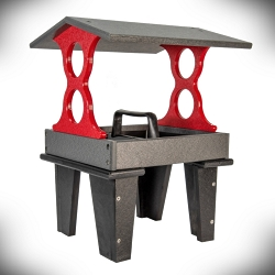 Recycled Poly Ground Fly-Through Feeder Medium Gray/Cardinal Red