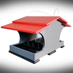 Recycled Poly Large Capacity Hopper Feeder Cardinal Red/Gray