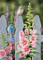 Bluebirds and Hollyhocks 1000 Piece Jigsaw Puzzle