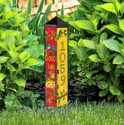 Custom Personalized 2 ft. Address Art Pole 5x5 Hello Goodbye