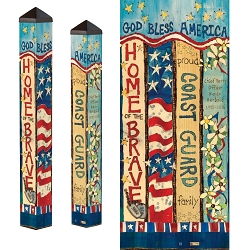 Custom Personalized Patriotic 3 ft. Art Pole 4x4 Coast Guard