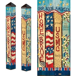 Custom Personalized Patriotic 3 ft. Art Pole 4x4 Marines
