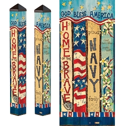 Custom Personalized Patriotic 3 ft. Art Pole 4x4 Navy