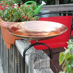 Achla Polished Copper Birdbath with Over Rail Bracket